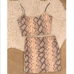 Windsor Light Pink Snakeskin Crop and Skirt Set